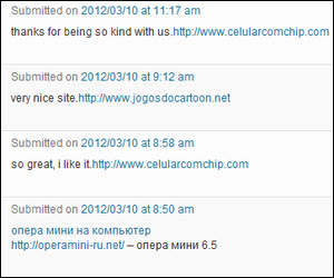 My blog spam snapshot