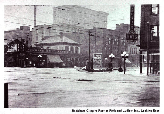 1913: Fifth and Ludlow Streets in downtown Dayton during the worst of the flooding